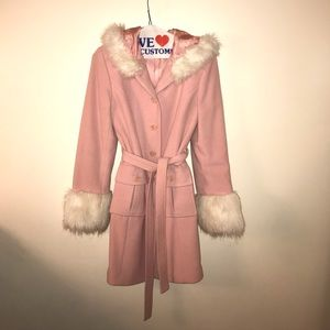 Pink trench coat with fur